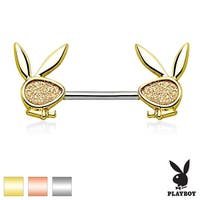 Sand Blasted Sparkling Playboy Bunny Ends Surgical Steel Nipple Ring Barbell-14GA (Sold Ind.)