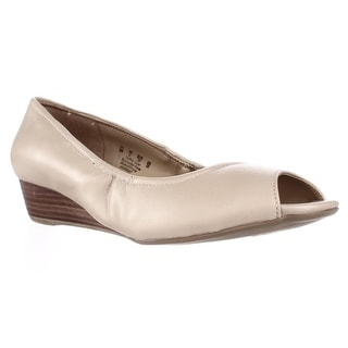 naturalizer Contrast Peep Toe Low Wedge Pumps - Tender Taupe