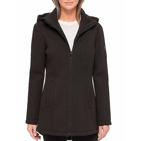 Andrew Marc Womens Jacket Black Size Small S Hooded Full Zip Seamed