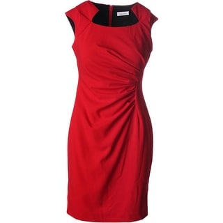 Calvin Klein Womens Plus Pleated Cap Sleeves Cocktail Dress