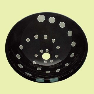 Tempered Glass Vessel Sink with Drain, Black and White Helix Design Bowl Sink