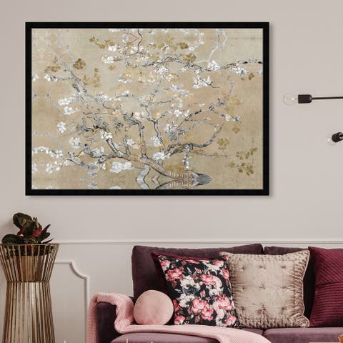 Oliver Gal 'Van Gogh in Gold Blossoms Inspiration' Classic and Figurative Framed Wall Art Prints Impressionism - Gold, Gray