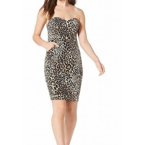 B. Darlin Black Size 6 Junior Sheath Dress Cheetah Print Strapless