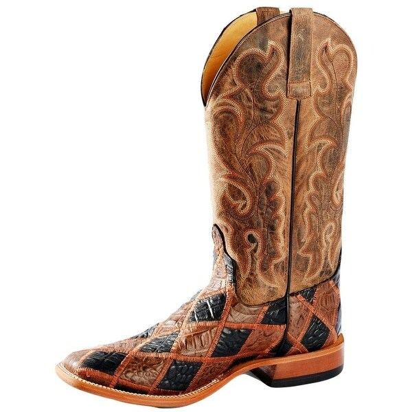 Horse Power Western Boot Mens Croc Patchwork Bone Mad Dog Brown