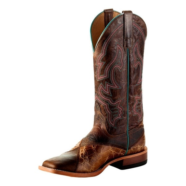 Horse Power Western Boots Mens Square Tabs Roper Studley Honey