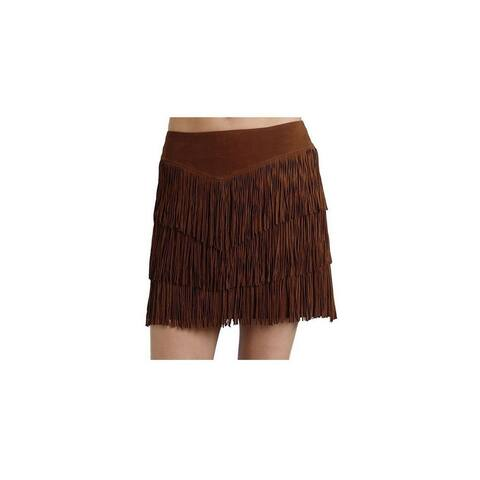 Stetson Western Skirt Womens Suede Fringe Brown