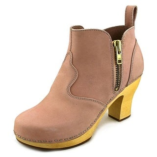Swedish Hasbeens 382 Women Round Toe Leather Bootie
