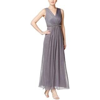MSK Womens Evening Dress Rhinestone Metallic-Dot