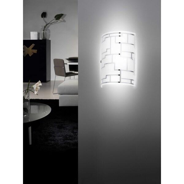Eglo Bayman Chrome Wall Light with White Decor Glass