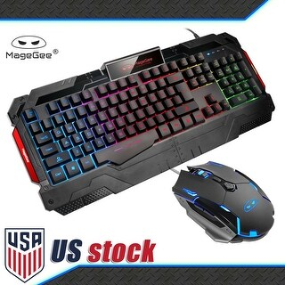 MageGee Gaming Combo with Keyboard and Mouse Featuring 7-Color Cycle Rainbow LED Backlit - Black