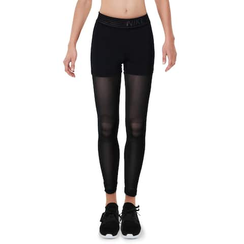 Nike Pro Womens Athletic Leggings Running Fitness - Black - XS