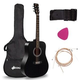 "Costway Sonart 41"" Acoustic Folk Guitar 6 String w/Case Strap Pick Strings for Beginners - Black"