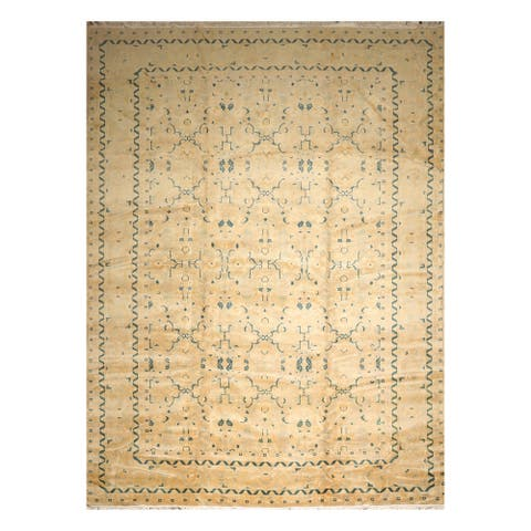 Hand-knotted Grey Aqua Persian Wool Oriental Area Rug - 11' 09'' x 17' 11''