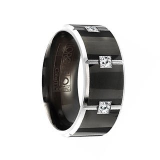 PYRAMID Torque Black Cobalt Polished Wedding Band Grooved Center with Diamonds Beveled Edges by Crown Ring - 9 mm