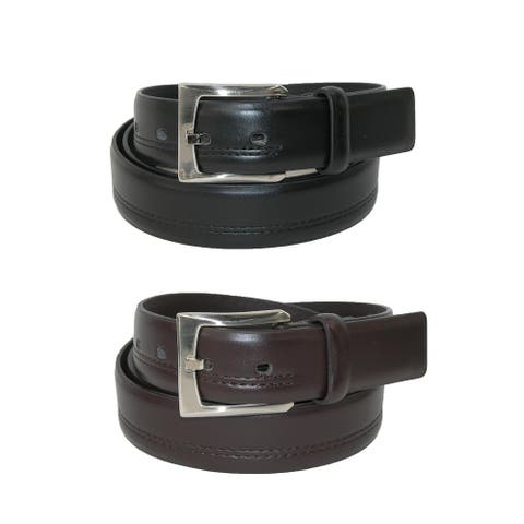 Aquarius Men's Big & Tall Double Stitched Belts (Pack of 2)