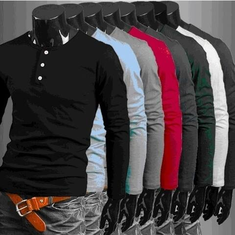 New Colorful Version of Korean Fashion Men's Long Sleeve Pure Cotton T-Shirt