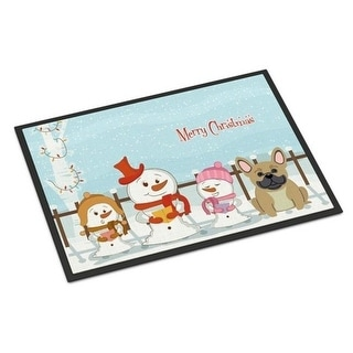 Carolines Treasures BB2341MAT Merry Christmas Carolers French Bulldog Cream Indoor or Outdoor Mat 18 x 0.25 x 27 in.