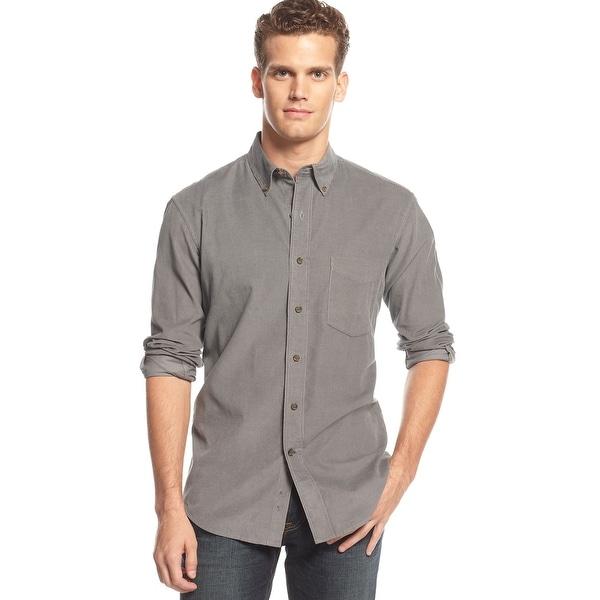 Club Room Long Sleeve Corduroy Button-Down Shirt Shark Grey Small