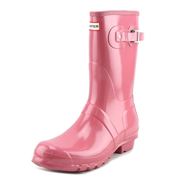 Hunter Original Short Gloss Women Round Toe Synthetic Pink Rain Boot
