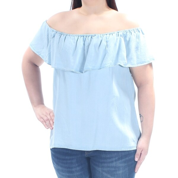 42dcc74c8cd1ea Shop SANCTUARY Womens Light Blue Short Sleeve Off Shoulder Top Size  XL -  Free Shipping On Orders Over  45 - - 21264615