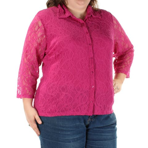 STYLE & CO Womens Pink 3/4 Sleeve Collared Button Up Top Size 3X