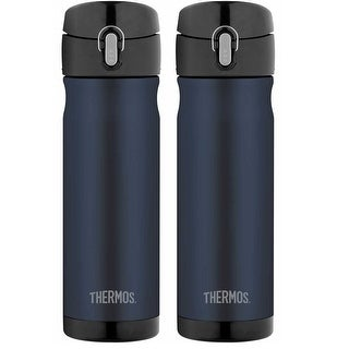 Thermos 16 Ounce Stainless Steel Commuter Bottle, Midnight Blue (2-Pack)