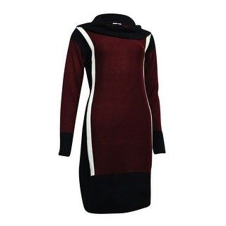 NY Collection Women's Cowl Colorblocked Sweater Dress