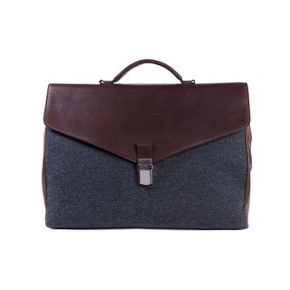Brunello Cucinelli Gray Wool Brown Leather Classic Briefcase