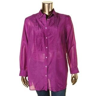 Ralph Lauren Womens Plus Blouse Pleated Button Up - 16W