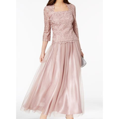 32620370773 Alex Evenings Pink Embroidered Mesh Women s Size 6 Gown Dress