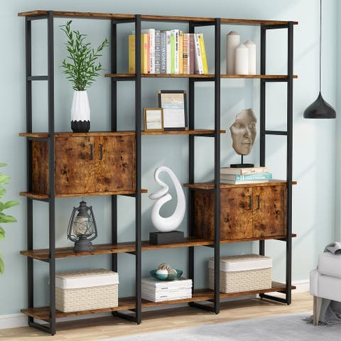 71'' Triple Wide 5-Tier Bookshelves Bookcases with Cabinets - 70.86''L x11.82''W x 70.86''H