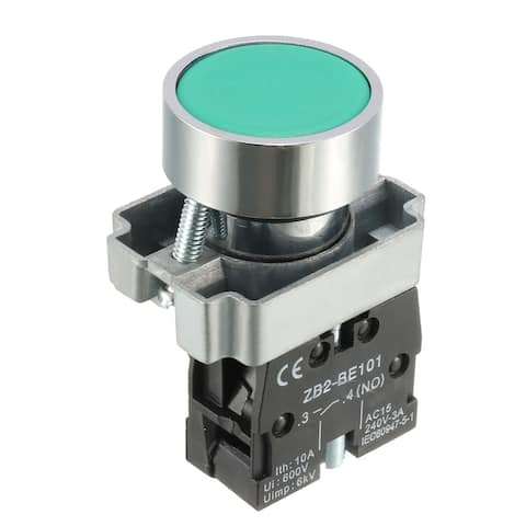22mm Mounting Hole Green Emergency Stop Push Button Switch SPST NO - geen