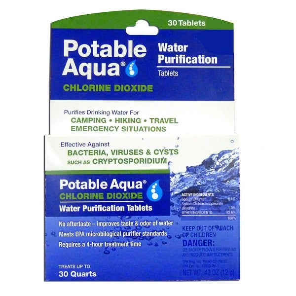 Potable Aqua Water Purification Chlorine Dioxide Tablets - 30 Pack