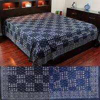 Vegetable Dye Block Print Cotton Tapestry Spread 110 x 110 inches King Blue Black