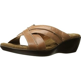 Walking Cradles Womens Chase Leathe Cushioned Footbed Slide Sandals - 7 medium (b,m)