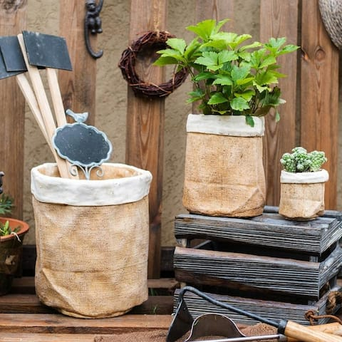 RusticReach Paper Bag Style Concrete Garden Pot