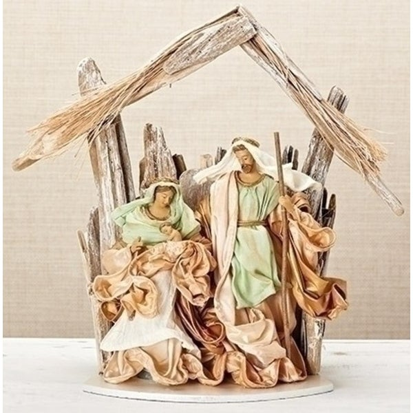 "14"" Religious Christmas Holy Family and Stable with Ivory and Mint Linen Fabric"