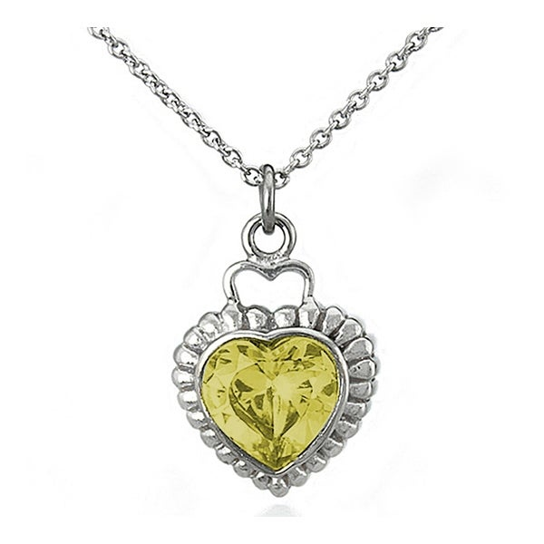Stainless Steel Yellow Heart Shaped Cubic Zirconia 18 Inches Necklace