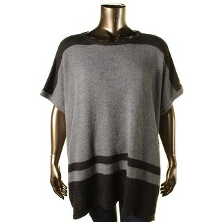 Vince Camuto Womens Plus Modern Edge Mohair Blend Two Tone Poncho Sweater