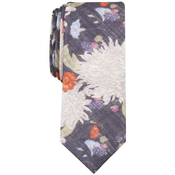 Bar III Mens Neck Tie Blue One Size Berwick Floral Print Skinny Wool