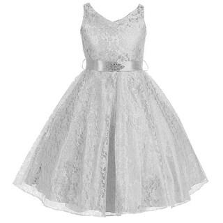 Flower Girl Dress V-Neck Lace Rhinestone Brooch Silver GG 3511