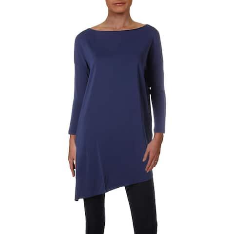 Lafayette 148 New York Womens Tunic Top Asymmetric 3/4 Sleeves