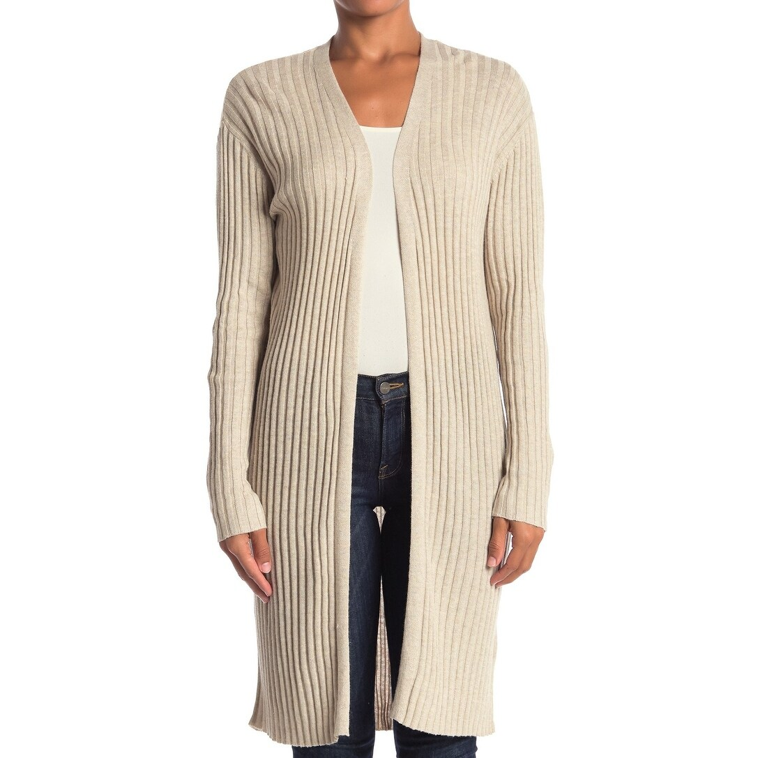 Abound Oatmeal Beige Women's Size XL Cardigan Ribbed Longline Sweater