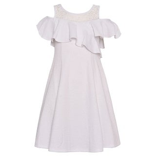 Bonnie Jean Girls White Ruffle Overlay Cut-Out Cold Shoulder Dress