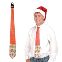 "Club Pack of 12 Red-Orange Christmas Themed Reindeer Neckties 51.5"" - RED"