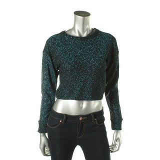 Zara W&B Collection Womens Metallic Long Sleeves Crop Sweater