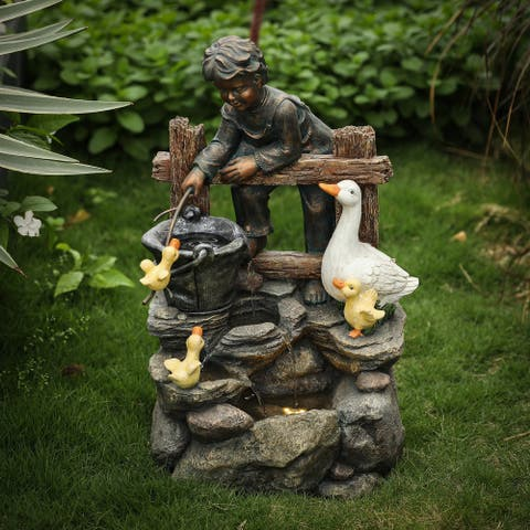 Resin Child and Duck Family Outdoor Fountain with LED Light