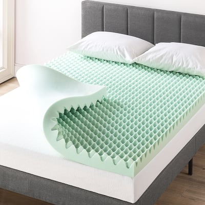 4 Inch Egg Crate Memory Foam Mattress Topper with Calming Aloe Infusion