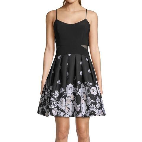 Xscape Womens A-Line Dress Black Size 0 Floral Mesh Inset Fit & Flare