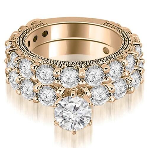 4.40 cttw. 14K Rose Gold Antique Round Cut Diamond Engagement Set